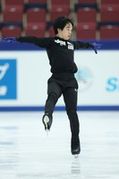 Figure skater Yuma Kagiyama is seen at an official practice session for the national championships at the Big Hat arena in Nagano, central Japan, on Dec. 24, 2020. (Pool photo)