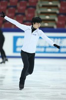Figure skater Yuzuru Hanyu is seen at an official practice session for the national championships at the Big Hat arena in Nagano, central Japan, on Dec. 24, 2020. (Pool photo)