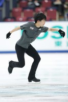 Figure skater Shun Sato is seen at an official practice session for the national championships at the Big Hat arena in Nagano, central Japan, on Dec. 24, 2020. (Pool photo)