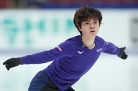 Figure skater Shoma Uno is seen at an official practice session for the national championships at the Big Hat arena in Nagano, central Japan, on Dec. 24, 2020. (Pool photo)