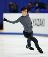 Figure skater Sota Yamamoto is seen at an official practice session for the national championships at the Big Hat arena in Nagano, central Japan, on Dec. 24, 2020. (Pool photo)