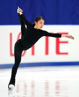Figure skater Rika Kihira is seen at an official practice session for the national championships at the Big Hat arena in Nagano, central Japan, on Dec. 24, 2020. (Pool photo)