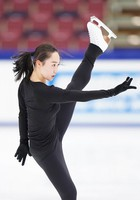Figure skater Wakaba Higuchi is seen at an official practice session for the national championships at the Big Hat arena in Nagano, central Japan, on Dec. 24, 2020. (Pool photo)