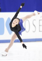Figure skater Tomoe Kawabata is seen at an official practice session for the national championships at the Big Hat arena in Nagano, central Japan, on Dec. 24, 2020. (Pool photo)