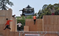 Participants are seen during the second annual national ninja parkour tournament, held at Kanazawa Castle Park in Kanazawa, in this May 3, 2019 file photo. (Mainichi/Shun Iwakabe)