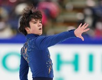 Shoma Uno performs in the men's single free skating competition at the Japan Figure Skating Championships at the Big Hat arena in the city of Nagano, central Japan, on Dec. 26, 2020. (Pool photo)
