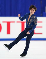 Shoma Uno gives a fist pump after his performance in the men's single free skating competition at the Japan Figure Skating Championships at the Big Hat arena in the city of Nagano, central Japan, on Dec. 26, 2020. (Pool photo)