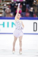 Gold medalist Rika Kihira gives a fist pump after her performance in the women's single free skating competition at the Japan Figure Skating Championships at the Big Hat arena in the city of Nagano, central Japan, on Dec. 27, 2020. (Pool photo)