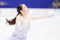 Rika Kihira performs in the women's single free skating competition at the Japan Figure Skating Championships at the Big Hat arena in the city of Nagano, central Japan, on Dec. 27, 2020. (Pool photo)
