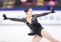 Silver medalist Kaori Sakamoto performs in the women's single free skating competition at the Japan Figure Skating Championships at the Big Hat arena in the city of Nagano, central Japan, on Dec. 27, 2020. (Pool photo)