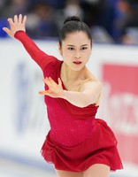 Bronze medalist Satoko Miyahara performs in the women's single free skating competition at the Japan Figure Skating Championships at the Big Hat arena in the city of Nagano, central Japan, on Dec. 27, 2020. (Pool photo)