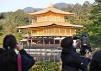 The reliquary hall of Kinkaku-ji temple is shown to the press after re-roofing work, in Kyoto's Kita Ward on Dec. 29, 2020. (Mainichi/Kazuki Yamazaki)