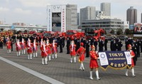 A band of color guards march during the Tokyo Fire Department's New Year drills in the capital's Koto Ward on Jan. 6, 2021. (Mainichi/Kota Yoshida)