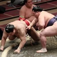 阿武咲(右)が押し倒しで高安を破る=東京・両国国技館で2021年1月10日、玉城達郎撮影