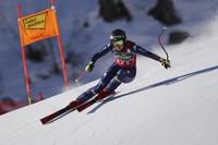 Italy's Sofia Goggia speeds down the course during an alpine ski, women's World Cup downhill in St. Anton, Austria, Saturday, Jan. 9, 2021. (AP Photo/Marco Trovati)