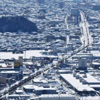 大雪による渋滞が続く福井市内の国道8号線=福井県福井市で2021年1月11日午後0時16分、本社ヘリから木葉健二撮影