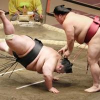 大栄翔(右)にはたき込みで敗れた貴景勝=東京・両国国技館で2021年1月11日、尾籠章裕撮影