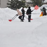 道路の除雪作業をする住民たち=福井市で2021年1月12日午前9時27分、山田尚弘撮影