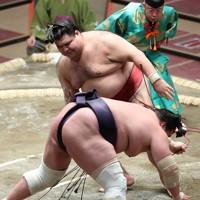 高安(中央)がはたき込みで照ノ富士を降す=東京・両国国技館で2021年1月13日、玉城達郎撮影