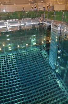 This photo shows the spent fuel pool at reactor No. 3 at Shikoku Electric Power Co.'s Ikata Nuclear Power Plant, where used MOX fuel is being stored, in Ikata, Ehime Prefecture, on Jan. 14, 2020. (Pool)
