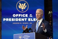 U.S. President-elect Joe Biden speaks about the COVID-19 pandemic during an event at The Queen theater on Jan. 14, 2021, in Wilmington, Delaware. (AP Photo/Matt Slocum)