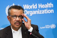 In this Jan. 30, 2020 file photo, Tedros Adhanom Ghebreyesus, Director General of the World Health Organization (WHO), talks to the media at the World Health Organization headquarters in Geneva, Switzerland. (Jean-Christophe Bott/Keystone via AP)