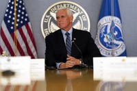 U.S. Vice President Mike Pence listens during a briefing about the upcoming presidential inauguration of President-elect Joe Biden and Vice President-elect Kamala Harris, at FEMA headquarters in Washington, on Jan. 14, 2021. (AP Photo/Alex Brandon, Pool)