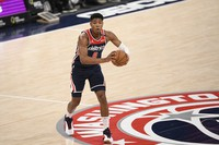 Washington Wizards forward Rui Hachimura, of Japan, looks to pass during the second half of an NBA basketball game against the Phoenix Suns on Jan. 11, 2021, in Washington. (AP Photo/Nick Wass)