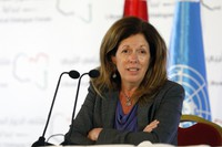 In this Nov. 15, 2020 file photo, Stephanie Williams, Acting Special Representative of the Secretary-General and Head of the United Nations Support Mission speaks during a news conference in Tunis, Tunisia. (AP Photo/Walid Haddad, File)