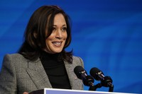 Vice President-elect Kamala Harris speaks during an event at The Queen theater, on Jan. 16, 2021, in Wilmington, Del. (AP Photo/Matt Slocum)