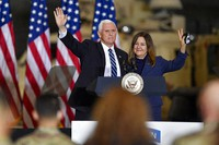 Vice President Mike Pence, left, and second lady Karen Pence wave following remarks to Army 10th Mountain Division soldiers, many of whom have recently returned from Afghanistan, in Fort Drum, N.Y., on Jan. 17, 2021. (AP Photo/Adrian Kraus)
