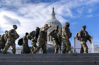 National Guard troops reinforce security around the U.S. Capitol ahead of the inauguration of President-elect Joe Biden and Vice President-elect Kamala Harris, on Jan. 17, 2021, in Washington. (AP Photo/J. Scott Applewhite)