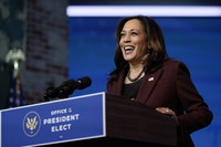 In this Nov. 24, 2020 file photo, U.S. Vice President-elect Kamala Harris speaks as she and President-elect Joe Biden introduce their nominees and appointees to key national security and foreign policy posts at The Queen theater, in Wilmington, Delaware. (AP Photo/Carolyn Kaster)