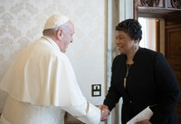 In this March 12, 2018 file photo, youngest child of civil rights leaders Martin Luther King Jr. Bernice King is welcomed by Pope Francis on the occasion of their private audience at the Vatican. (L'Osservatore Romano/Pool Photo via AP)