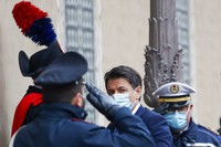 Premier Giuseppe Conte arrives at the Senate do deliver his speech, in Rome, on Jan. 19, 2021. (AP Photo/Alessandra Tarantino)