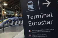 In this Dec.21, 2020 file photo, an information board is displayed at Gare du Nord train station in Paris. (AP Photo/Lewis Joly)