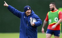 In this Oct. 16, 2020 file photo, England's head coach Eddie Jones gestures as he watches his players during an England rugby union team training session at Twickenham Stadium in London. (Dave Rogers/Pool via AP)