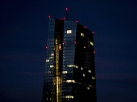 Office lights of the European Central Bank are seen in Frankfurt, Germany, on Jan. 13, 2021. (AP Photo/Michael Probst)