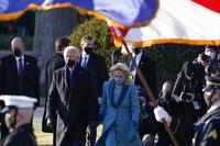 President Joe Biden and first lady Jill Biden walk toward the North Portico of the White House, on Jan. 20, 2021, in Washington. (AP Photo/Alex Brandon, Pool)