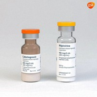 These illustrations, provided by drugmaker ViiV Healthcare on Thursday, Dec. 10, 2020, shows a rendering of the packaging and vials containing its new HIV treatment, Cabenuva, approved by the U.S. Food and Drug Administration on Jan. 21, 2021. (ViiV Healthcare via AP)