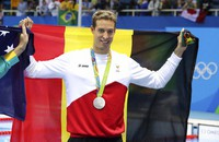 In this Aug. 11, 2016 file photo, Belgium's Pieter Timmers holds up his silver medal after the men's 100-meter freestyle during the swimming competitions at the 2016 Summer Olympics, in Rio de Janeiro, Brazil.  (AP Photo/Lee Jin-man)