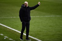 Real Madrid's head coach Zinedine Zidane gives instructions from the side line during Spanish Super Cup semi-final soccer match between Real Madrid and Athletic Bilbao at La Rosaleda stadium in Malaga, Spain, on Jan. 14, 2021. (AP Photo/Jose Breton)