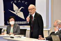 Terumi Tanaka, a representative committee member of the Japan Confederation of A- and H-Bomb Sufferers Organizations (Nihon Hidankyo), speaks at a meeting in Tokyo's Chiyoda Ward on Jan. 22, 2021, following the effectuation of the Treaty on the Prohibition of Nuclear Weapons. (Mainichi/Daiki Takikawa)