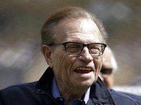 This April 1, 2013 file photo shows talk show host Larry King attends a season-opening baseball game between the Los Angeles Dodgers and the San Francisco Giants in Los Angeles. (AP Photo/Jae C. Hong)