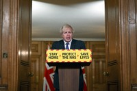 Britain's Prime Minister Boris Johnson speaks during a coronavirus press conference at 10 Downing Street in London, on Jan. 22, 2021. (Leon Neal/Pool via AP)