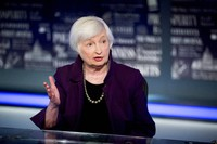In this Aug. 14, 2019, file photo former Fed Chair Janet Yellen speaks with FOX Business Network guest anchor Jon Hilsenrath in the Fox Washington bureau in Washington. (AP Photo/Andrew Harnik)