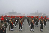 Indian army soldiers march during rehearsals for the upcoming Republic Day parade at the Raisina hills, the government seat of power, in New Delhi, India, on Jan. 18, 2021. (AP Photo/Manish Swarup)