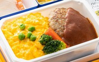 This photo shows ANA's in-flight meal beef Hamburg steak with demi-glace sauce that will go on sale online on Jan. 26. (Photo courtesy of All Nippon Airways Co.)