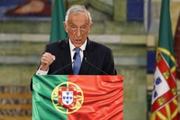 In this Dec. 7, 2020 file photo, Portuguese President Marcelo Rebelo de Sousa announces that he will be running for reelection in the Jan. 24 presidential election, in Lisbon, Portugal. (Manuel de Almeida/Pool via AP)