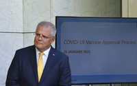 Australia's Prime Minister Scott Morrison speaks at a press conference at Parliament House in Canberra, on Jan. 25, 2021. (Mick Tsikas/AAP Image via AP)